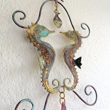 Load image into Gallery viewer, Seahorse couple in etched copper & brass handmade by Sharon McSwiney