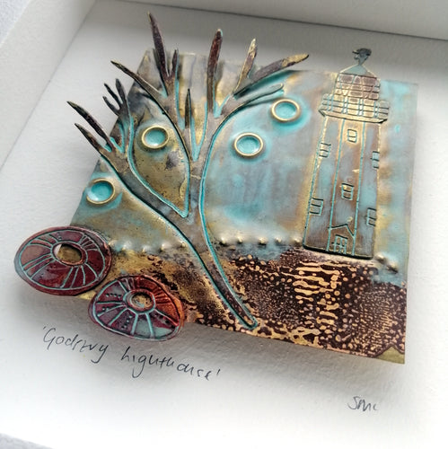 metal Godrevy lighthouse handmade framed artwork by Sharon McSwiney