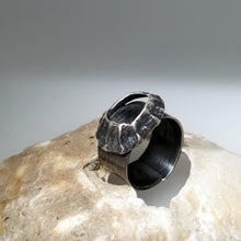 Load image into Gallery viewer, Godrevy limpet shell adjustable ring in oxidised silver handmade by Sharon McSwiney