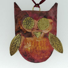 Load image into Gallery viewer, copper owl decoration handmade by Sharon McSwiney