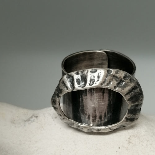 Limpet ring with Marazion limpet shell in oxidised silver handmade by Sharon McSwiney