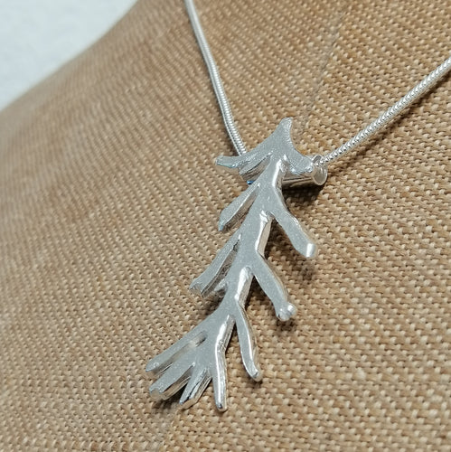 seaweed frond necklace sterling silver pendant handmade by Sharon McSwiney St Ives