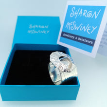 Load image into Gallery viewer, Marazion limpet shell ring in sterling silver handmade by Sharon McSwiney in a giftbox