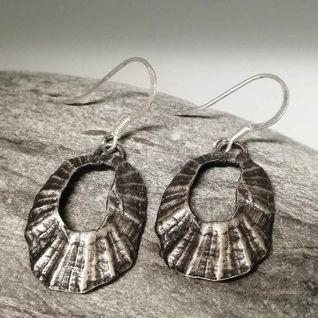Marazion limpet shell oxidised silver drop earrings handmade by Sharon McSwiney