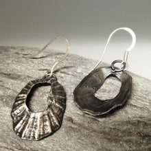 Load image into Gallery viewer, Marazion limpet shell oxidised silver drop earrings handmade by Sharon McSwiney