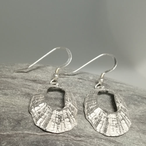 Silver Marazion limpet shell earrings handmade by Sharon McSwiney