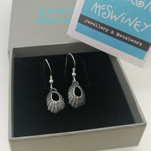 Load image into Gallery viewer, Tiny Marazion limpet drops in oxidised silver handmade by Sharon McSwiney in a gift box