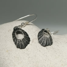 Load image into Gallery viewer, Tiny Marazion limpet drops in oxidised silver handmade by Sharon McSwiney