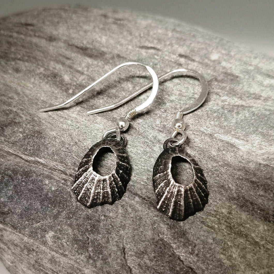 Tiny Marazion limpet drops in oxidised silver handmade by Sharon McSwiney