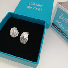 Load image into Gallery viewer, Sterling silver porthminster beach limpet stud earrings handmade by Sharon McSwiney in a giftbox