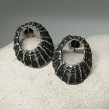 Load image into Gallery viewer, Prussia cove limpet studs in oxidised silver hadnmade by Sharon McSwiney