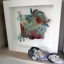 Load image into Gallery viewer, Sea garden picture with crab, seaweed, limpet metalwork handmade by Sharon McSwiney