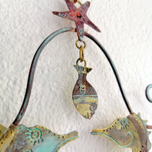 Load image into Gallery viewer, Little fish with seahorse couple in copper & brass handmade by Sharon McSwiney