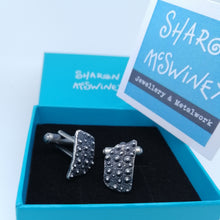 Load image into Gallery viewer, Oxidised Silver Handmade Textured Porthmeor Beach Cuff links by Sharon McSwiney, St Ives gift boxed
