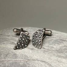 Load image into Gallery viewer, Oxidised sterling silver sea urchin beach find fragment handmade cuff links by Sharon McSwiney