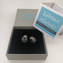 Load image into Gallery viewer, Sennen Cove limpet shell earrings in oxidised sterling silver handmade by Sharon McSwiney in a giftbox