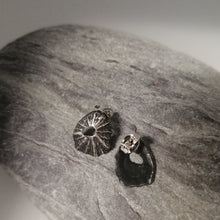 Load image into Gallery viewer, Sennen Cove limpet shell earrings in oxidised sterling silver handmade by Sharon McSwiney