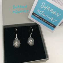 Load image into Gallery viewer, Oxidised small Marazion limpet shell drop earrings handmade by Sharon  McSwiney in a gift box