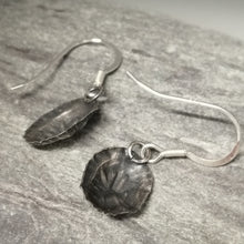 Load image into Gallery viewer, Oxidised small Marazion limpet shell drop earrings handmade by Sharon  McSwiney