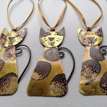 Load image into Gallery viewer, Spotty brass cat handmade decorations by Sharon McSwiney