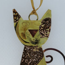 Load image into Gallery viewer, Spotty brass cat handmade decoration by Sharon McSwiney