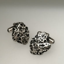 Load image into Gallery viewer, Oxidised Silver Handmade Textured Porthmeor Beach Cuff links by Sharon McSwiney, St Ives