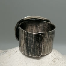 Load image into Gallery viewer, Limpet ring with Marazion limpet shell in oxidised silver handmade by Sharon McSwiney