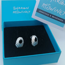 Load image into Gallery viewer, Sterling silver tiny Marazion limpet shell stud earrings handmade by Sharon McSwiney in a gift box