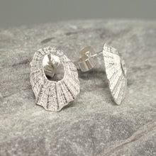 Load image into Gallery viewer, Sterling silver tiny Marazion limpet shell stud earrings handmade by Sharon McSwiney