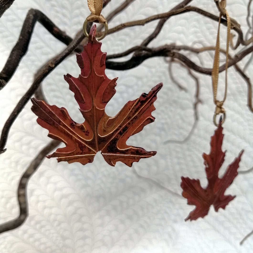 Acer leaf decoration in copper handmade by Sharon McSwiney