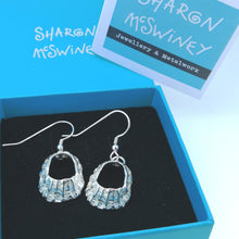 Load image into Gallery viewer, Godrevy limpet shell silver drop earrings handmade by Sharon McSwiney in a gift box