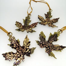 Load image into Gallery viewer, Acer leaf decoration in brass Handmade by Sharon McSwiney