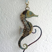 Load image into Gallery viewer, brass seahorse wall hanging handmade by Sharon McSwiney