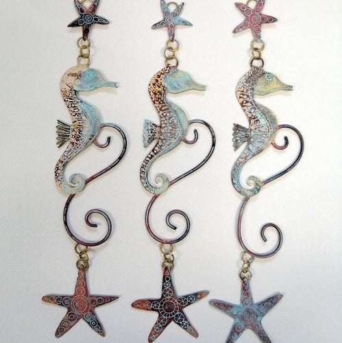 brass seahorse with starfish wall hanging handmade by Sharon McSwiney