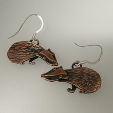 Load image into Gallery viewer, Badger earrings in a copper finish with silver hooks handmade by Sharon McSwiney