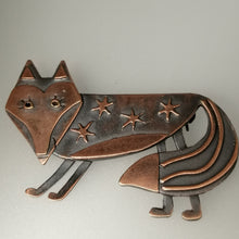 Load image into Gallery viewer, Fox brooch with stars on its body in a copper finish handmade by Sharon McSwiney