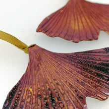 Load image into Gallery viewer, Small ginkgo biloba leaf decoration handmade by Sharon McSwiney