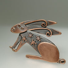 Load image into Gallery viewer, Copper coloured hare brooch with stars on its body handmade by Sharon McSwiney