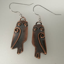 Load image into Gallery viewer, owl earrings with drop fitting handmade by Sharon McSwiney