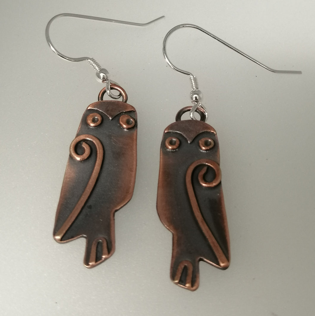 owl earrings with drop fitting handmade by Sharon McSwiney