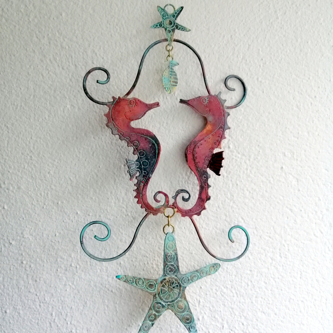 copper seahorse couple decoration hanging handmade by Sharon McSwiney