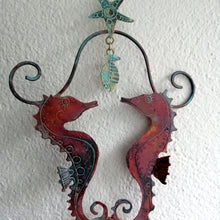 Load image into Gallery viewer, copper seahorse couple decoration hanging handmade by Sharon McSwiney