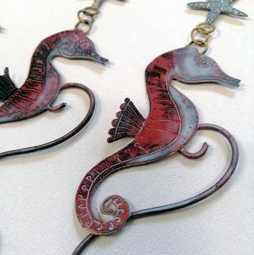 copper seahorse hanging decoration handmade by Sharon McSwiney