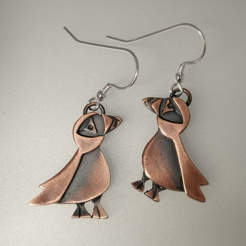 puffin drop earrings in a copper finish handmade by Sharon McSwiney