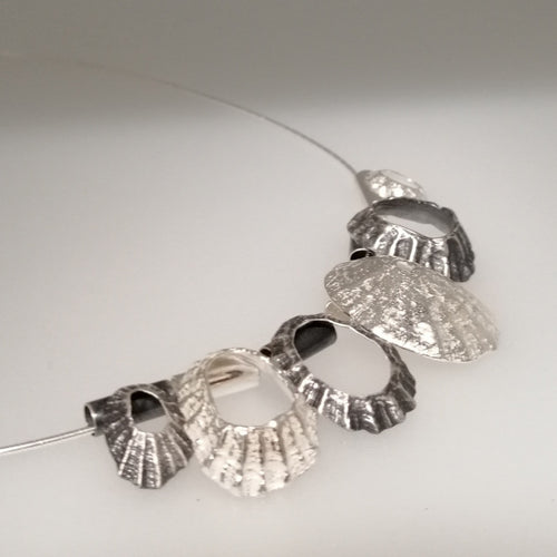 Multi limpet Cornish Coast sterling silver neck piece handmade by Sharon McSwiney