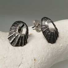 Load image into Gallery viewer, Oxidised silver tiny Marazion limpet shell studs handmade by Sharon McSwiney
