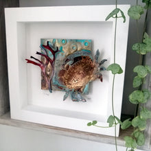 Load image into Gallery viewer, Crab in brass with copper seaweed framed handmade by Sharon McSwiney