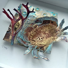 Load image into Gallery viewer, Crab in brass with copper seaweed framed metalwork handmade by Sharon McSwiney