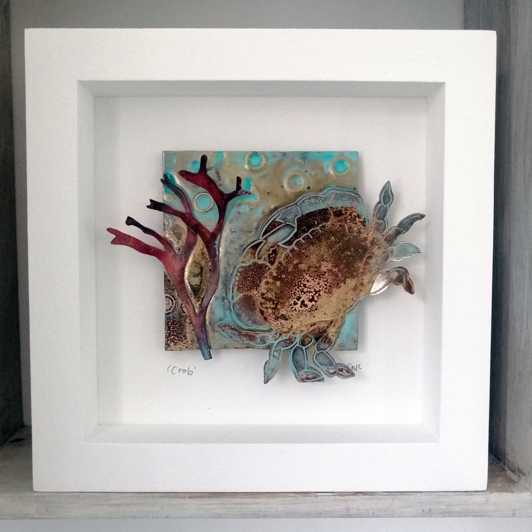 Crab in brass with copper seaweed framed metalwork handmade by Sharon McSwiney
