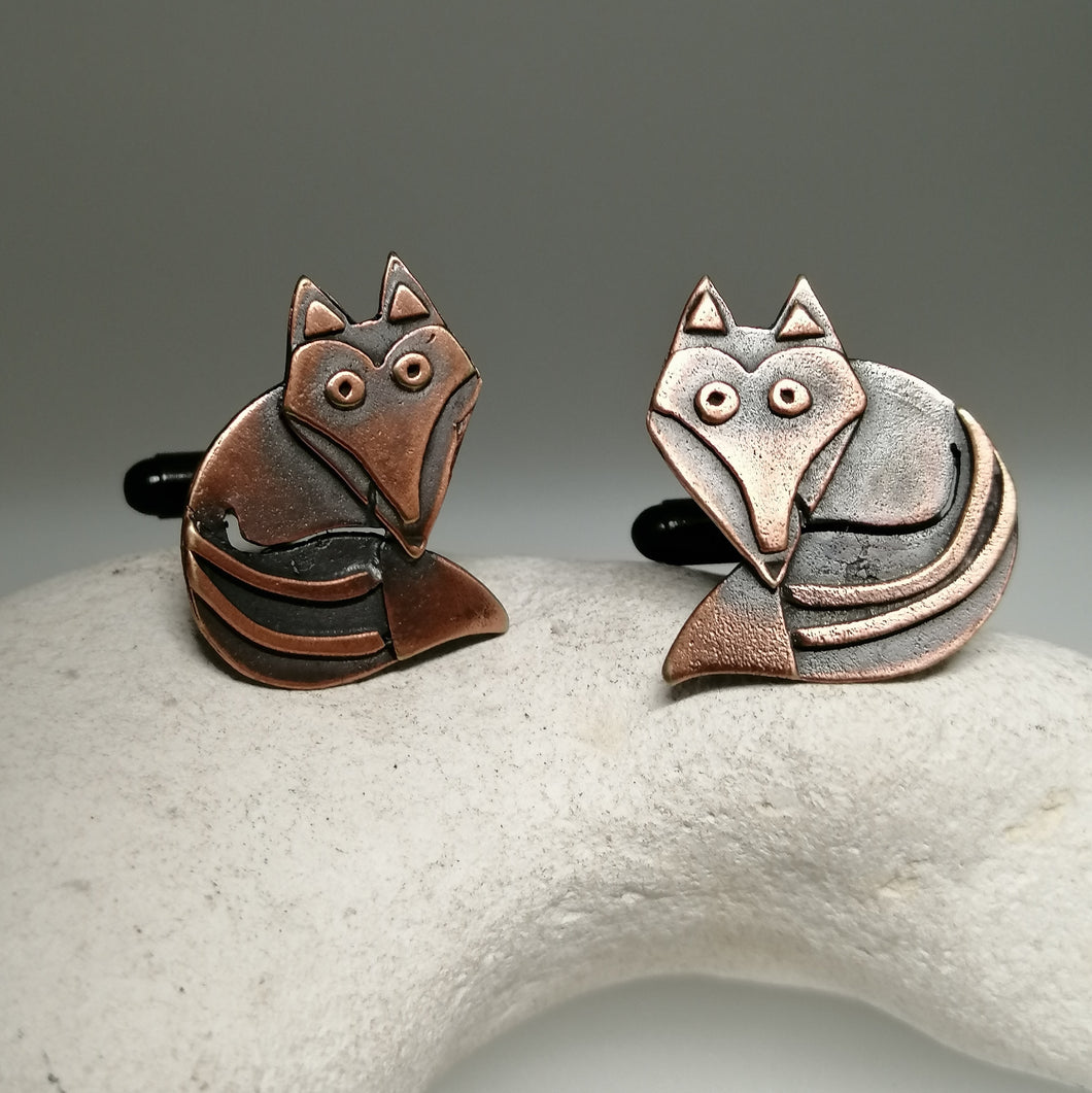fox cuff links in a copper finish handmade by Sharon McSwiney